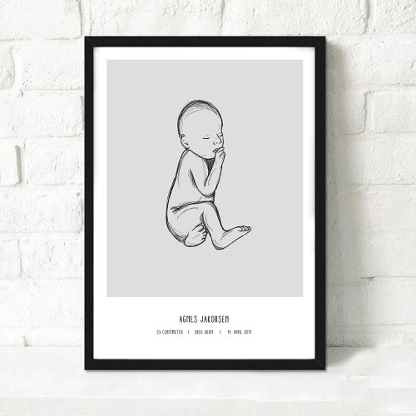 Den skønneste fødselsplakat med barnets informationer